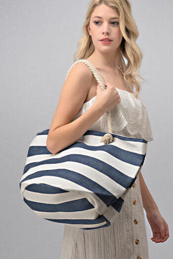 THICK STRIPE BEACH BAG