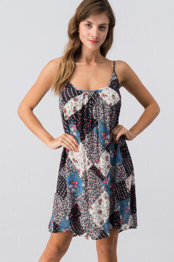 QUILT PATTERN SPAGHETTI STRAP DRESS WITH TIE BACK