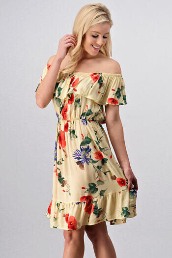OFF THE SHOULDER FLORAL PRINT SUMMER DRESS WITH RUFFLE