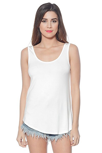 Loose Fit Tank Top with U Neckline and Hi-Low Hem-Ivory