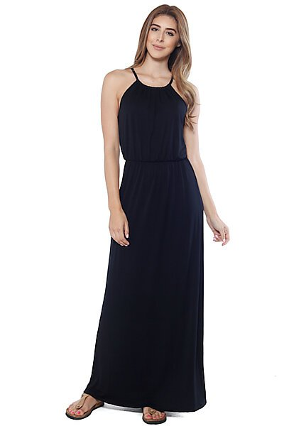 Maxi Halter Dress w/ Back Eyelash Lace and Buttons-Black