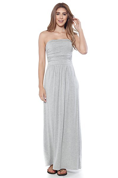 Strapless Maxi Dress w/ Empire Waist and Front Pockets-Heather Grey