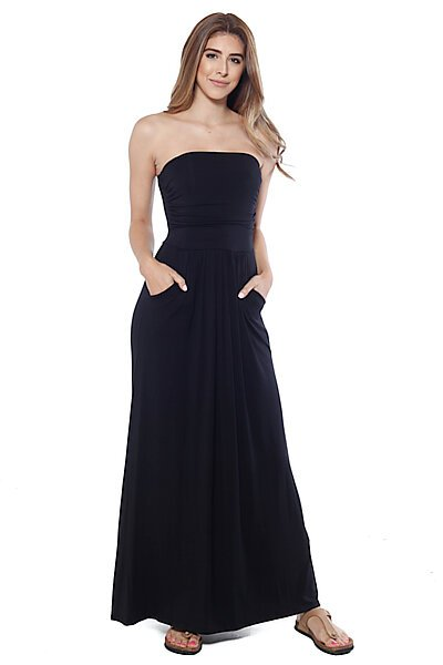 Strapless Maxi Dress w/ Empire Waist and Front Pockets-Black