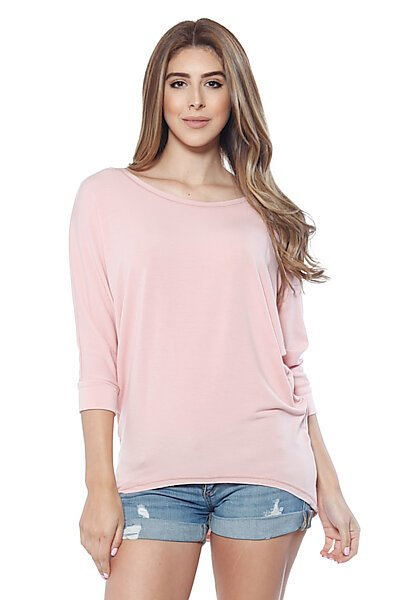 Soft Knit & 3/4 Dolman Sleeve w/ Hi Low Top-Dusty Rose