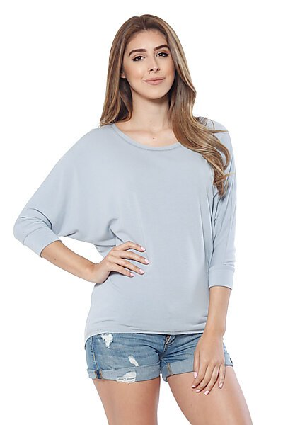 Soft Knit & 3/4 Dolman Sleeve w/ Hi Low Top-Dusty Blue