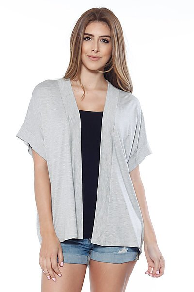 Lightweight Jersey Short Sleeve Open Front Cardigan-Heather Grey