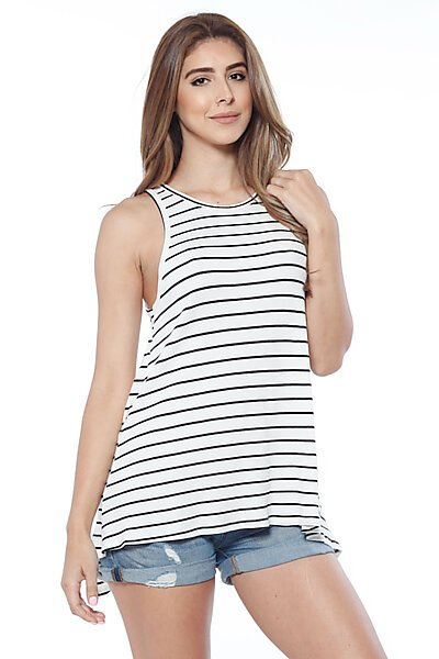 Sleeveless Ribbed Top W/ A Crossover Back Detail-White