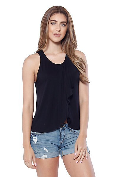 Casual Ruffled Front Sleeveless Top W/ Back Keyhole-Black