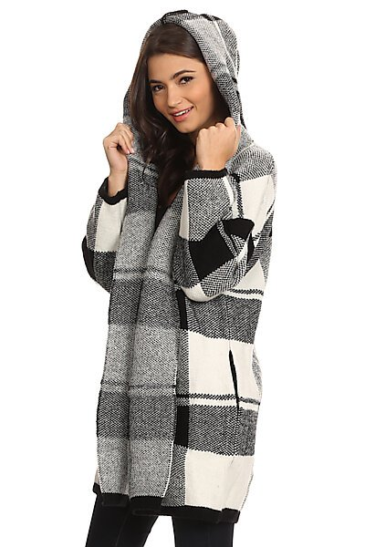 Oversized Open Front Plaid Hooded Winter Jacket-Cream/Black