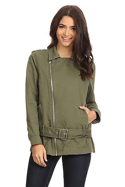 Military Zip-Up Anorak Parka Jacket W/ Waist Belt-Olive