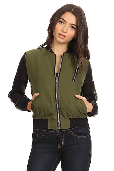 Bomber Jacket W/ Contrast Faux Leather Sleeves-Olive