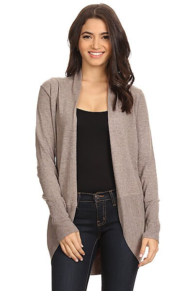 Rounded Hem Open Front Knit Cardigan Sweater-Mocha