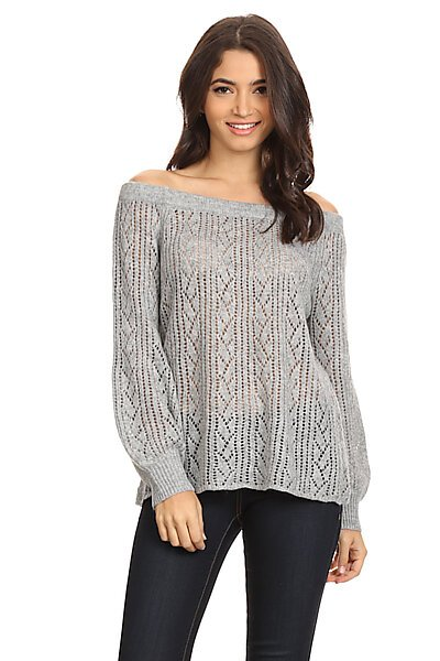 Cable Knit Off Shoulder Pullover Sweater Top-Heather Grey