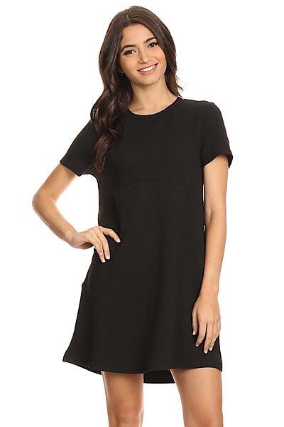 Texture Shortsleeve Shift Dress W/ Detailed Seams-Black