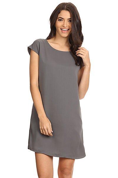 Cap Sleeve Shift Dress W/ Side Zippers Detail-Charcoal