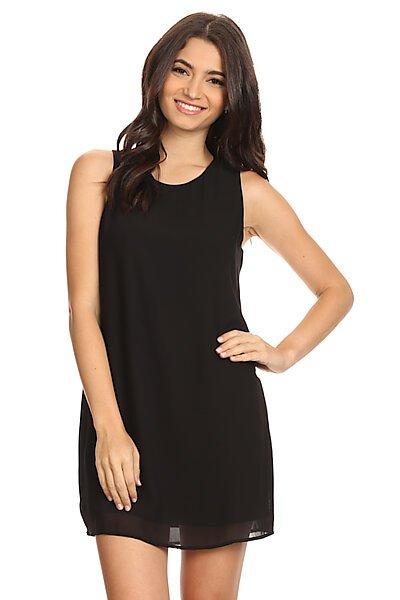Sleeveless Shift Dress W/ Back Zipper-Black