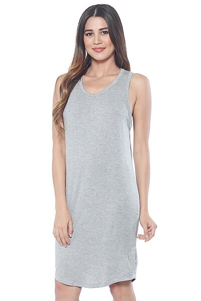 Midi Loose Fitted Tank Top Dress with Scoop Neckline-Heather Grey