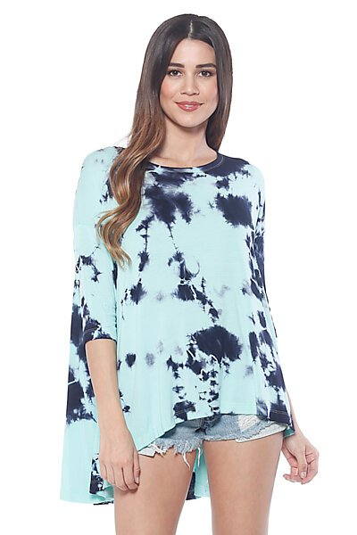 Cloud Dye Loose Fit Knit Top with Flared High Low Hem-Cradle Green