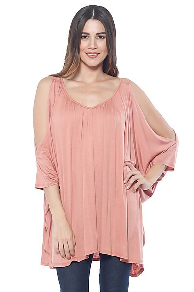 Cold Shoulder Double Strap Tunic w/ Top Gathering-Marsala