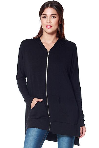 Oversized Knit Zipper Hoodie W/ High Side Slits-Black
