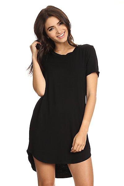 Basic Short Sleeve T-Shirt Dress w/ Round Hem-Black
