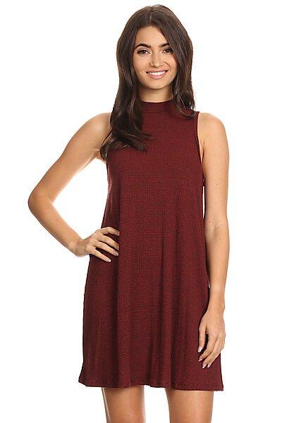 Knit Sleeveless Halter Neckline Shift Dress-Burgundy