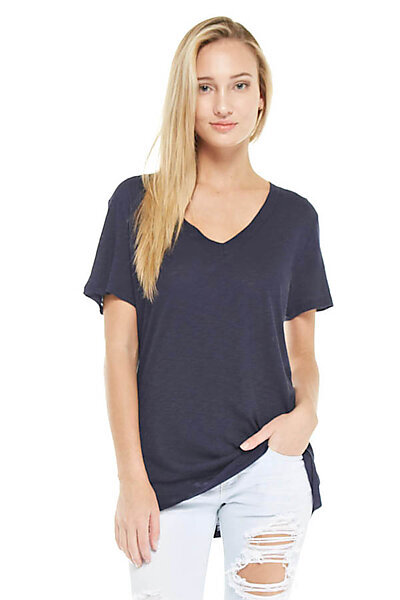 Slub Burnout Knit V-neck Top w/ Back Stitch-Navy