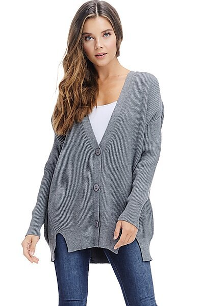 Oversized Ribbed Sweater Cardigan - Fall Knit Button Down-Grey