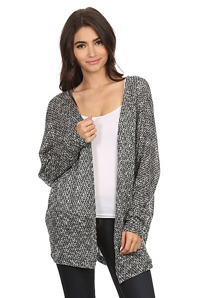 Sweater Knit Cardigan W/ Open Front-Grey Black