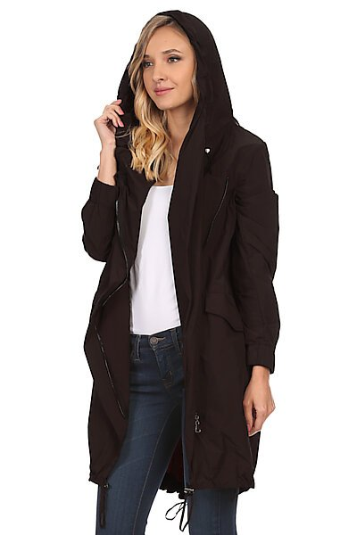 Hooded Zip-Up Long Trenchcoat W/ Pockets-Charcoal