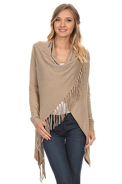Knit Open Crossover Cardigan Shawl Sweater W/ Fringe-Heather Taupe