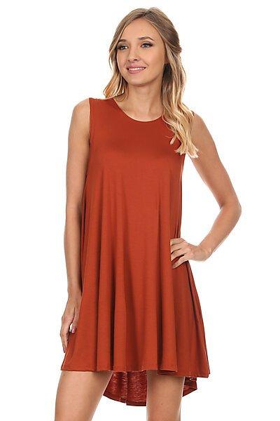 Loose Fit Flowy Stretch Knit Tank Midi Dress-Rust