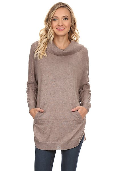 Cowl Neck Sweater Top w/ Front Pocket & Round Hem-Mocha