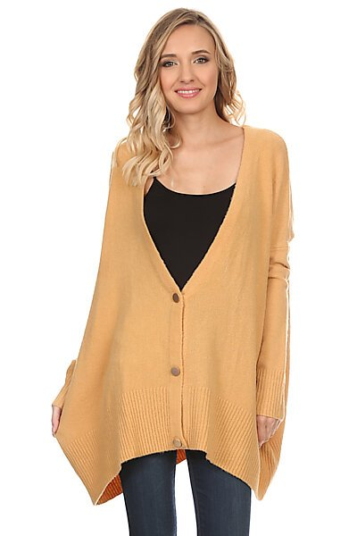 Casual Oversized Knit Cardigan Sweater w/ Front Buttons-Mustard