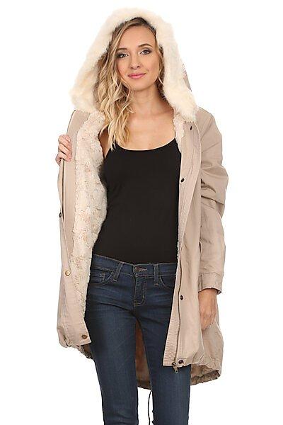Anorak Utility Padded/Lined Jacket Coat w/Faux Fur Hood-Khaki