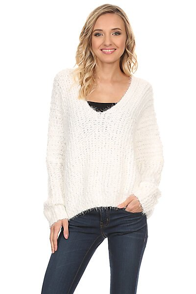 Open V-Neck Eyelash Pullover Knit Sweater-Cream