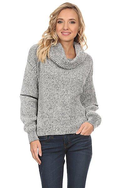 Two Tone Cowl Neck Sweater W/ Zipper Detail-Black/Grey
