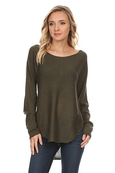 Scoop Neck Contrast Knit Sweater Top w/ Round Hem-Olive