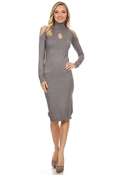 Fitted Turtleneck Sweater Dress w/ Keyhole & Cold Shoulders-Charcoal