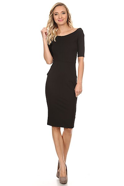 Fitted Off The Shoulder Midi Dress w/ Seam Details-Black