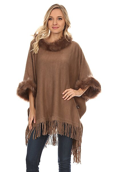 Knit Side Buttons Sweater Wrap Poncho W/ Faux Fur Hem-Mocha