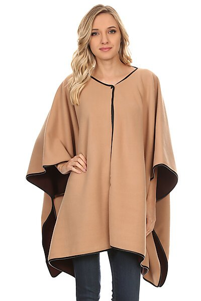 Reversible Wrap Shawl Poncho Cape W/ Hook Front-Camel/Brown