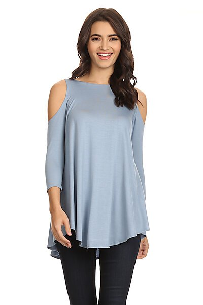 Soft Jersey 3/4 Sleeves Crewneck Top w/ Cold Shoulders-Dusty Blue