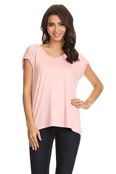 Raw Edge V-Neck Top With Cuffed Cap Sleeves-Pink