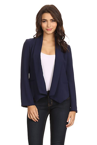 Structured Open Front Lined Blazer w/ Welt Pockets-Navy