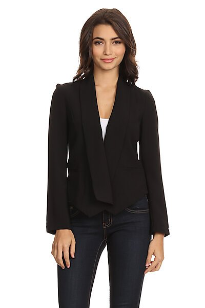 Structured Open Front Lined Blazer w/ Welt Pockets-Black