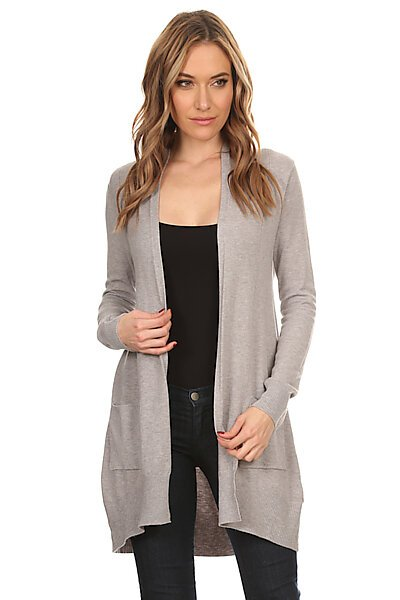 Basic Open Front Knit Cardigan With Pockets-Cold Heather