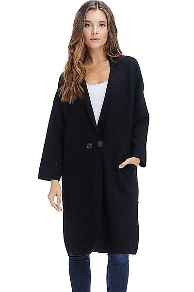 Heavy Winter Coat Jacket - Button Fall Knit Long Overcoat-Black