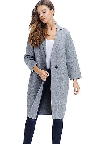 Heavy Winter Coat Jacket - Button Fall Knit Long Overcoat-Grey