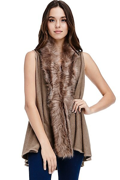 Faux Fur Sweater Vest - Sleeveless Fall Winter Trim Shawl-Mocha